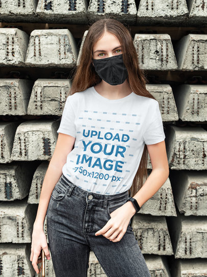 Mockup of a Young Woman Posing with a Basic T-Shirt 45074-r-el2