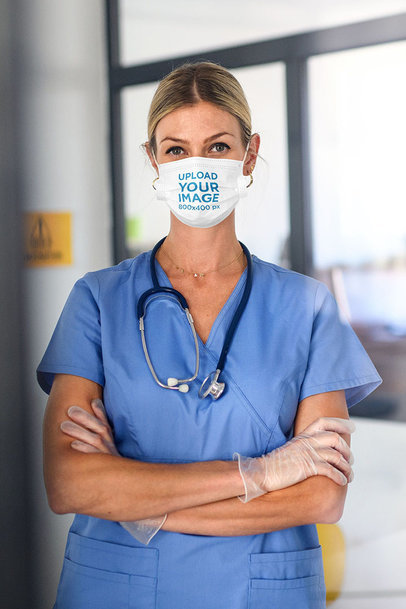 Face Mask Mockup of a Female Doctor With Her Arms Crossed 44903-r-el2