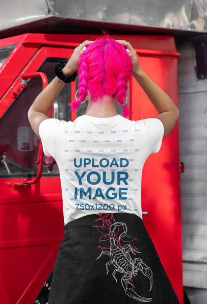 Back-View Mockup of a Woman with Pink Dyed Hair Wearing a T-Shirt m408