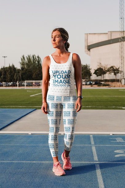 Mockup of an Athletic Woman Wearing Sports Leggings and a Tank Top 45084-r-el2