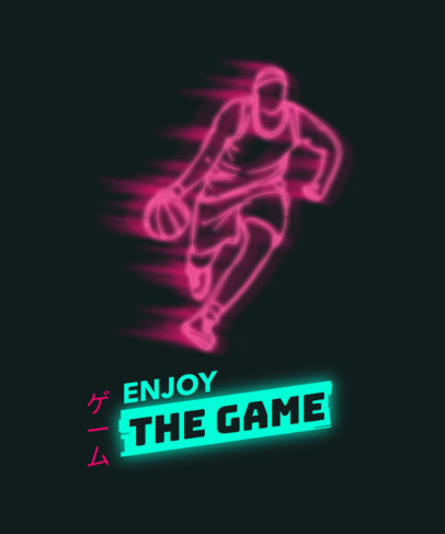 T-Shirt Design Maker Featuring Neon Silhouettes of Basketball Players 3185-el1