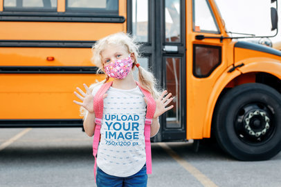 T-Shirt Mockup of a Girl Standing by a School Bus 45046-r-el2