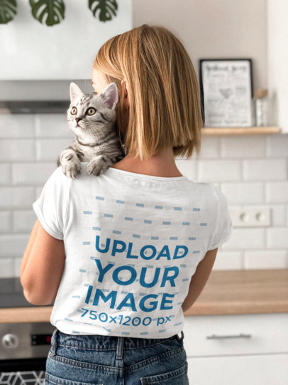 Back View T-Shirt Mockup of a Woman Holding a Kitty in Her Shoulder 45080-r-el2