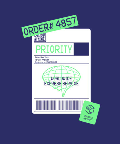 T-Shirt Design Creator with a Worldwide Express Delivery Label 3178a