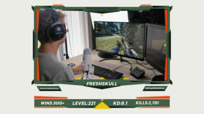 Twitch Overlay Design Maker with a Webcam Frame for a Live Streamed Game Match 3216d-el1