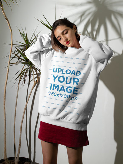 Sweatshirt Mockup Featuring a Young Woman and a Hard Flash Lighting m543