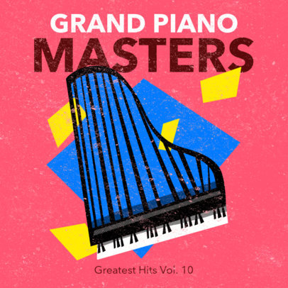 Colorful Cover Maker with Cubism Elements for a Piano Album 3136c