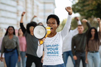 Long Sleeve Tee Mockup Featuring a Woman Protesting with a Megaphone 44650-r-el2