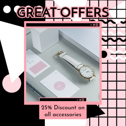 Instagram Post Maker to Announce an Accessories Store's Special Offers 3172a