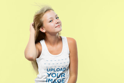 Tank Top Mockup Featuring a Teenager Touching Her Hair 41044-r-el2