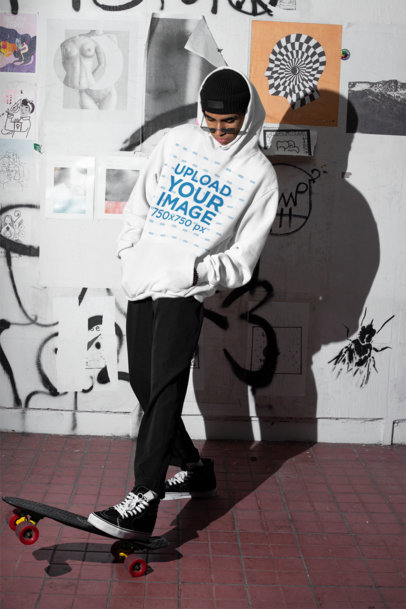 Oversized Hoodie Mockup of a Man Skating at Night m566