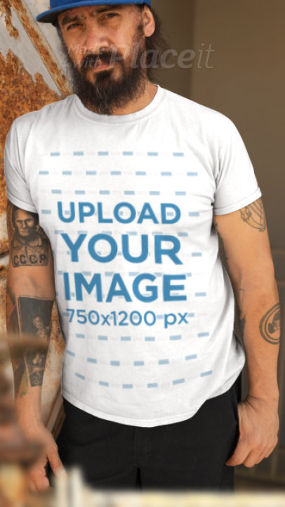 Parallax T-Shirt Video of a Bearded Man Leaning Against a Rusty Wall 2505
