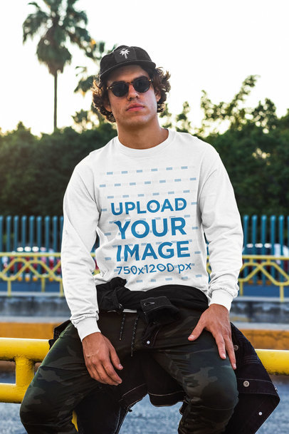 Long Sleeve T-Shirt Mockup of a Man with Sunglasses m531