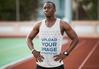 Mockup of an Athlete Wearing a Heathered Tank Top 40881-r-el2
