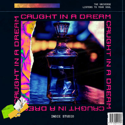 Indie Album Cover Template with Neon Colors 3204a