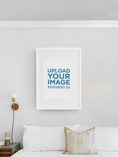 Mockup of a Vertical Art Print with a Customizable Backdrop m901