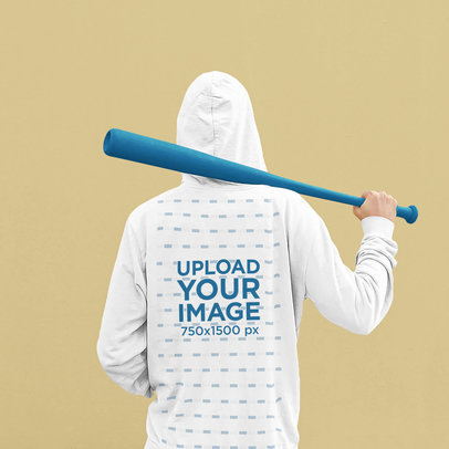 Back-View Hoodie Mockup of a Man Holding a Baseball Bat 45337-r-el2