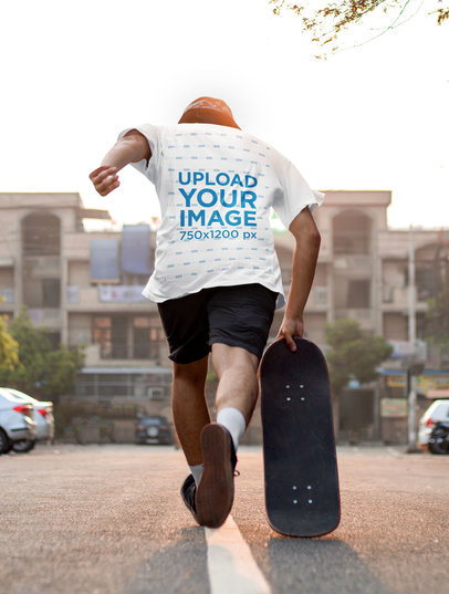 T-Shirt Mockup of a Man Skating Away 45305-r-el2