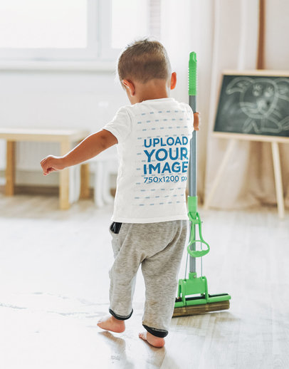 T-Shirt Mockup of a Toddler Cleaning the Floor with a Mop 45316-r-el2