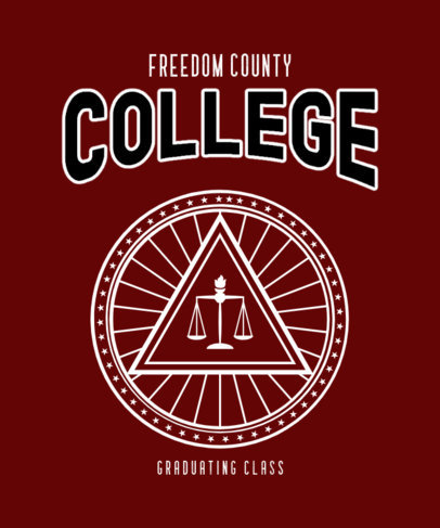 T-Shirt Design Generator for a County College with a Scale Icon 3208c