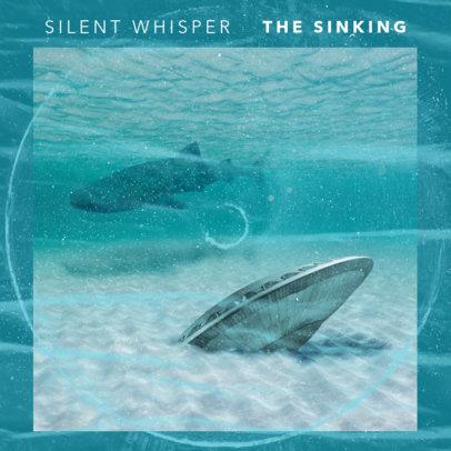 Alternative Rock Mixtape Cover Template Featuring a Surreal Submarine Landscape 3205e