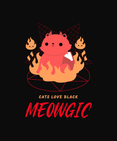 Illustrated T-Shirt Design Maker Featuring a Cute Cat Summoning the Devil 3207b