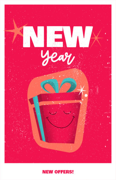 Flyer Maker Featuring a Retro Illustration of a New Year Gift 3201a