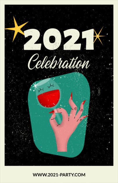 Illustrated Flyer Maker Featuring a New Year Celebration Message 3201c