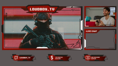 Twitch Overlay Design Template for a Shooter Games Streamer 3214e-el1