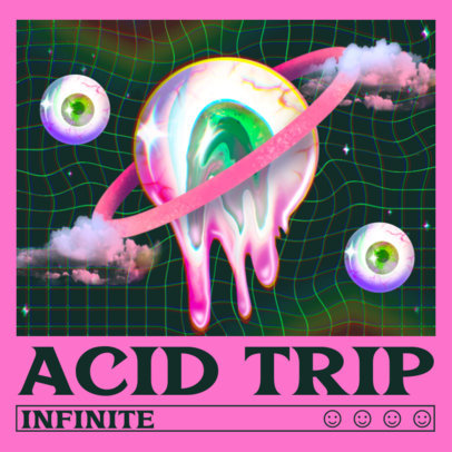 Acid Album Cover Maker with a Pastel Goth Surrealistic Illustration 3206f