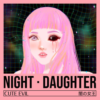 Album Cover Template for an Acid EDM Artist with a Pastel Goth Graphic Style 3206g