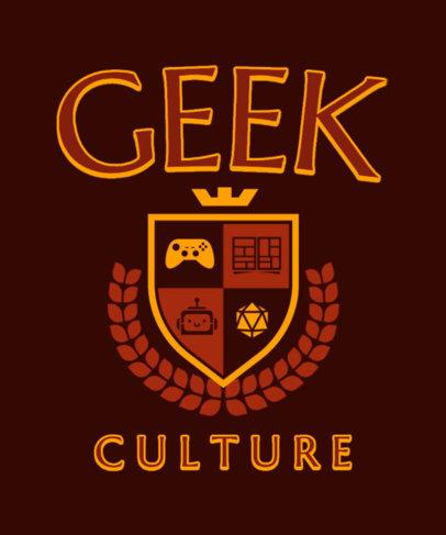 T-Shirt Design Template for Geeks Featuring a University Emblem 3209c