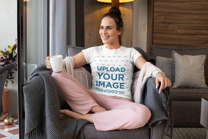 T-Shirt Mockup Featuring a Woman in Pajamas m798