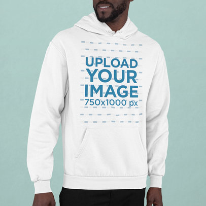 Hoodie Mockup of a Man in a Studio with His Face Cropped m748