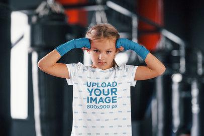 Sublimated T-Shirt Mockup of a Girl at a Boxing Gym 43097-r-el2
