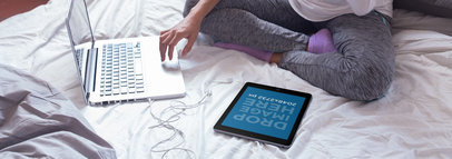 iPad Mockup of a Woman Using Her Digital Devices in Bed 14261w