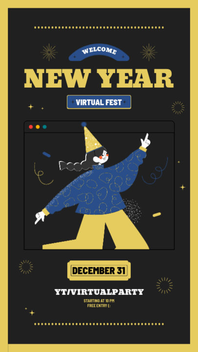 New Year-Themed Instagram Story Design Template for a Virtual Fest 3260c-el1