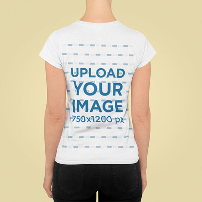 Simple Back-View T-Shirt Mockup Featuring a Woman Standing in a Studio m843