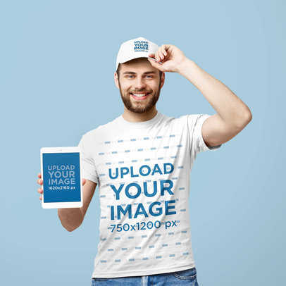 T-Shirt and Dad Hat Mockup Featuring a Man Holding an iPad Mini 42674-r-el2