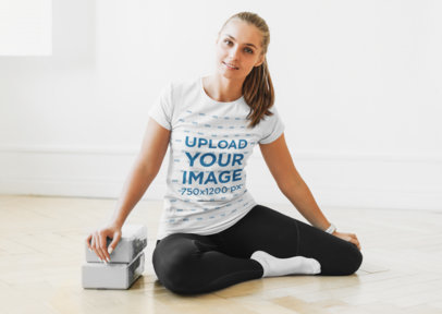 T-Shirt Mockup of a Woman Using Yoga Blocks 45595-r-el2