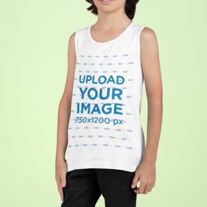 Tank Top Mockup of a Boy Standing Against a Colored Backdrop m863
