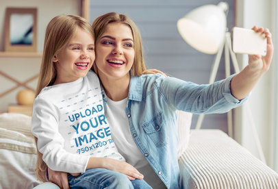 Long-Sleeve Tee Mockup of a Little Girl Taking a Selfie with Her Mom 45268-r-el2