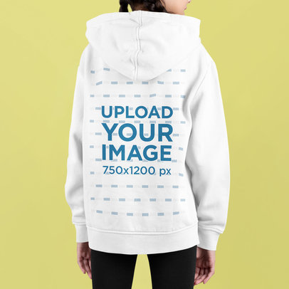 Back-View Hoodie Mockup of a Girl Standing in a Studio m732