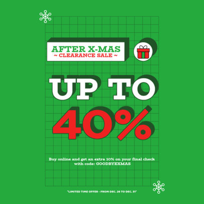 Instagram Post Design Template for an After Christmas Clearance Sale 3304c-el1