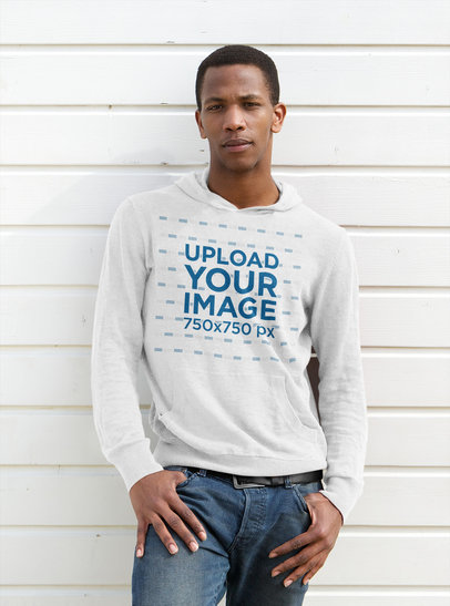 Pullover Hoodie Mockup Featuring a Man Leaning Against a Wall 45223-r-el2