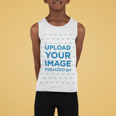 Mockup of a Smiling Kid Wearing a Tank Top at a Studio M874