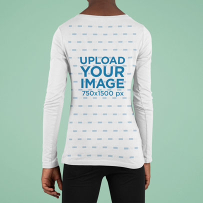 Back View Mockup Featuring a Kid Wearing a Long Sleeve Tee Against a Colored Background m917
