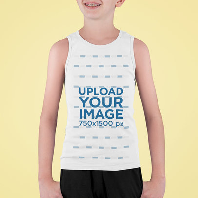 Tank Top Mockup Featuring a Smiling Kid with Braces m721