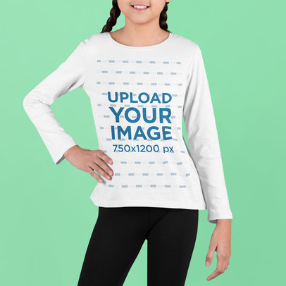 Mockup of a Little Girl Posing in a Studio with a Long Sleeve Tee m728