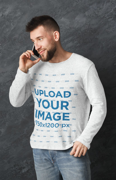 Mockup of a Man with a Heathered Long-Sleeve Tee Talking on the Phone 45709-r-el2
